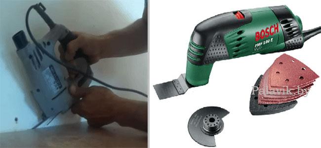реноватор и лобзик подрезать ламели у стены